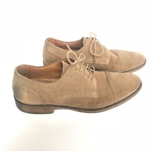 Johnston and Murphy Tan Suede Oxford Shoes 10.5